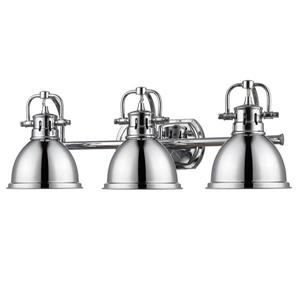 Golden Lighting Duncan CH 3-Light 24.5-in Chrome Dome Vanity Light