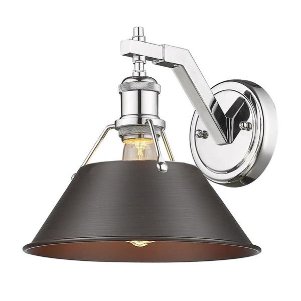 Golden Lighting Orwell CH 1-Light Wall Sconce - Chrome