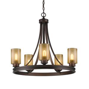 Golden Lighting Hidalgo 5-Light Sovereign Bronze Transitional Tinted Glass Abstract Chandelier
