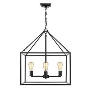 Golden Lighting Wesson 4-Light Black Transitional Cage Chandelier