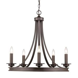 Golden Lighting Saldano 5-Light Rubbed Bronze Transitional Candle Chandelier