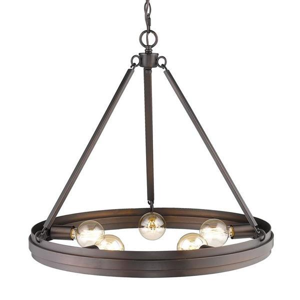 Golden Lighting Drew 5-Light Rubbed Bronze Modern/Contemporary Abstract Chandelier