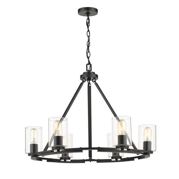Golden Lighting Monroe 6-Light Black Transitional Clear Glass Abstract Chandelier