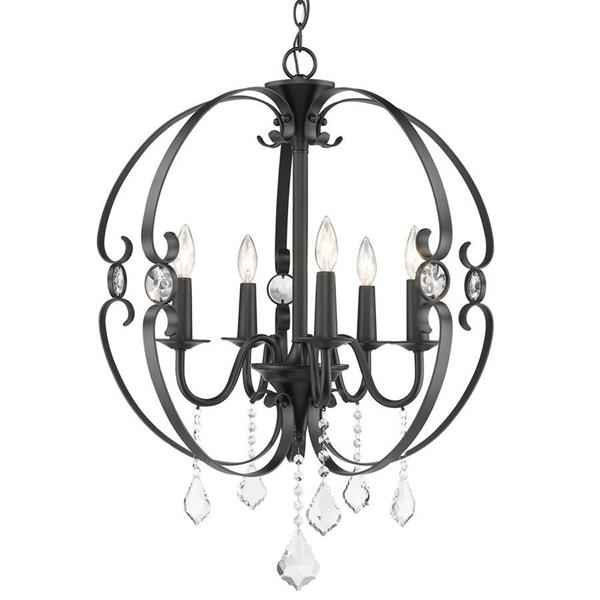 Golden Lighting Cynthia 5-Light Black Transitional Candle Chandelier