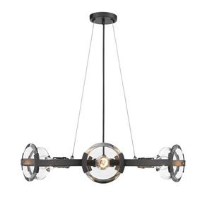 Golden Lighting Amari 6-Light Black Modern/Contemporary Clear Glass Drum Chandelier