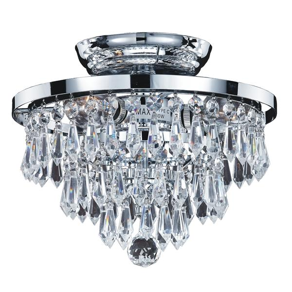 Glow Lighting Vista 10-in Polished Chrome Crystal Flush Mount Light