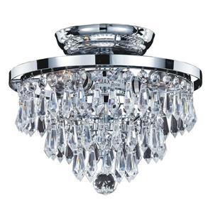 Glow Lighting Vista 10-in Polished Chrome Crystal Flush Mount Light