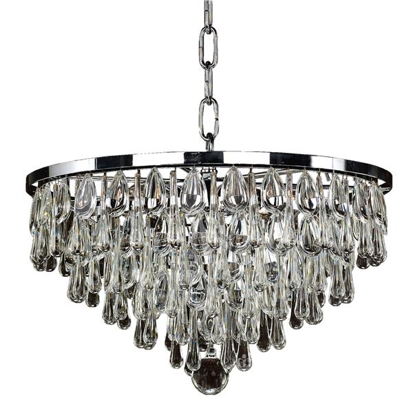 Glow Lighting Summer Rain 15-in Chrome 6-Bulb Chandelier