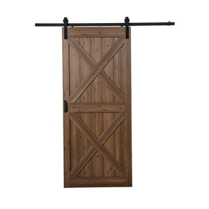 Renin 36-in x 96-in Brown X Barn door with Hardware Kit