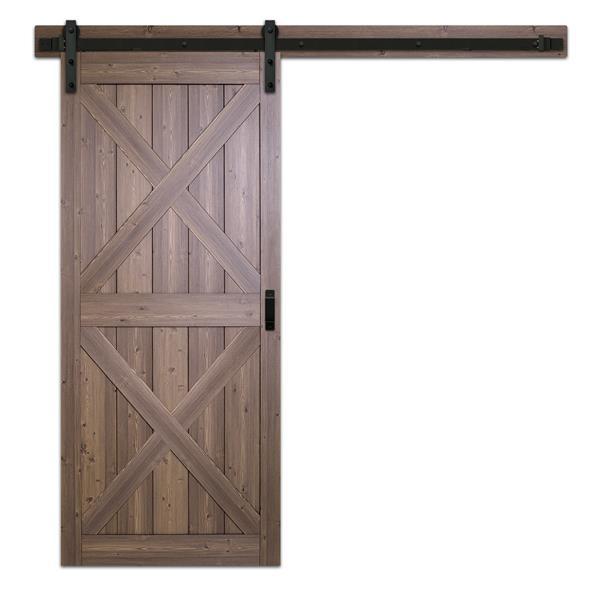 Porte de grange à X pré-percée, brun