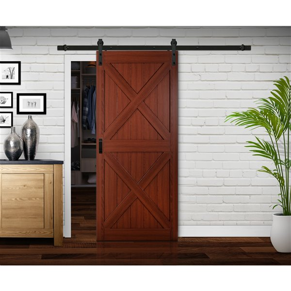 RELIABILT Renin 36-in x 84-in Cherry X Barn Door with