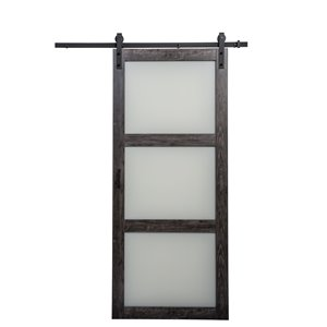 ReliaBilt 36-in x 84-in Frosted Glass Sliding Barn Door And Hardware Kit