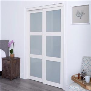 ReliaBilt Renin 60-in x 80-in Off-White Frosted Glass Sliding Closet Door