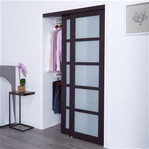 ReliaBilt Renin 72-in x 80-in Dark Brown Sliding Frosted Glass Door