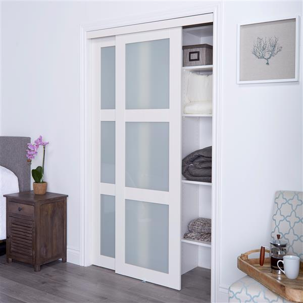 ReliaBilt Renin 48-in x 80-in Off-White Frosted Glass Sliding Closet Door