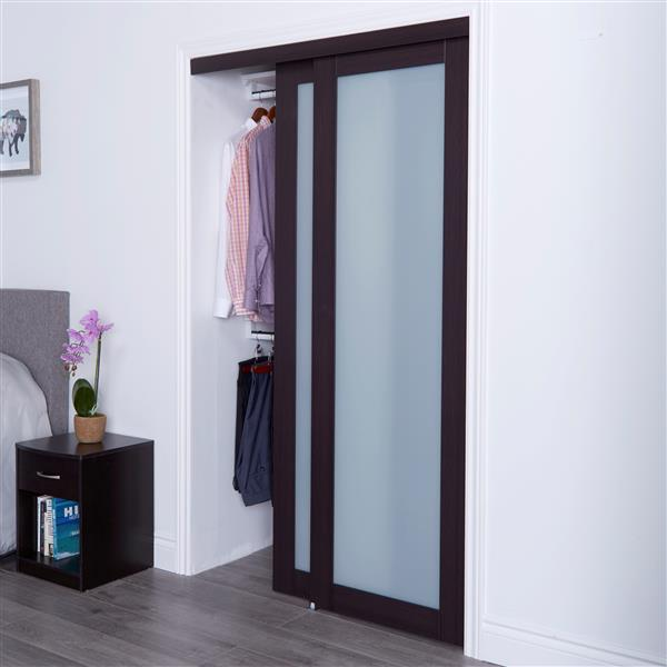 ReliaBilt Renin 48-in x 80-in Dark Brown Sliding Frosted Glass Door
