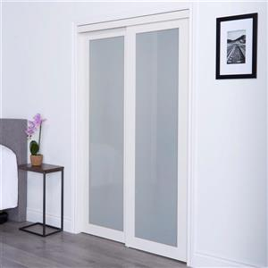 ReliaBilt Renin 60-in x 80-in Off-White Sliding Frosted Glass Door