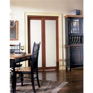 ReliaBilt Renin 72-in x 80-in Cherry Sliding Frosted Glass Door