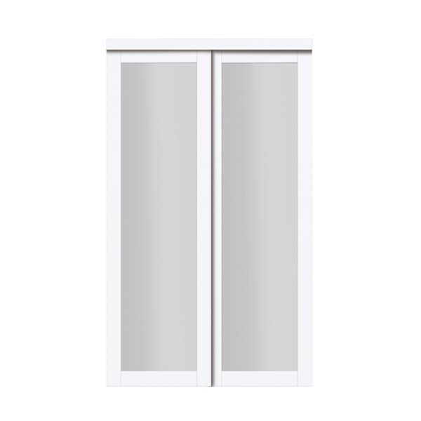 Porte coulissante en verre givré, blanc cassé
