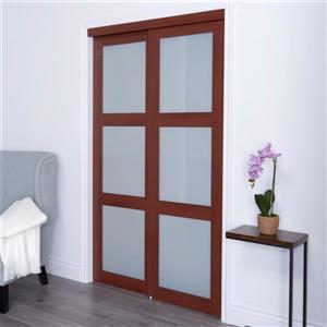 Renin 72-in x 80-in Cherry Frosted Glass Sliding Closet Door