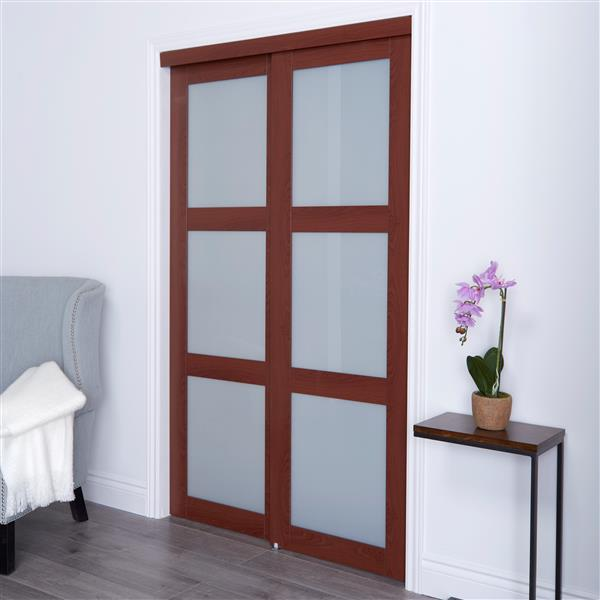 ReliaBilt Renin 48-in x 80-in Cherry Frosted Glass Sliding Closet Door