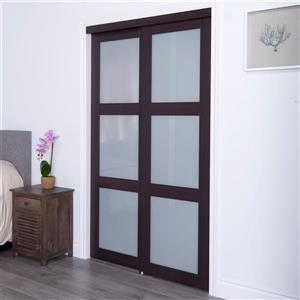 ReliaBilt Renin 72-in x 80-in Dark Brown Sliding Frosted Glass Door