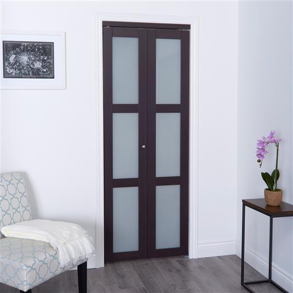 ReliaBilt 30-in x 80-in Dark Brown Frosted Glass Closet Door