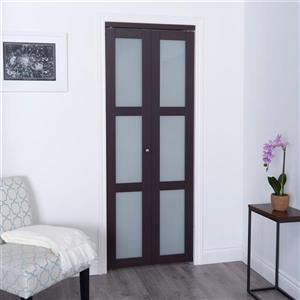 ReliaBilt 24-in x 80-in Dark Brown Frosted Glass Closet Door