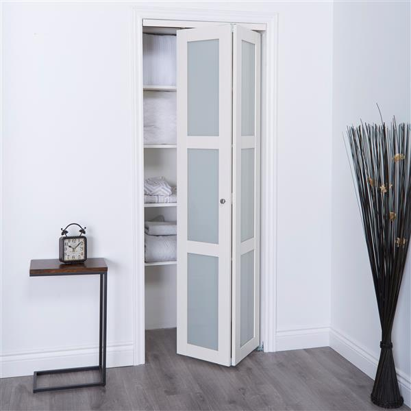 Reliabilt 36 In X 80 In Off White Frosted Glass Closet