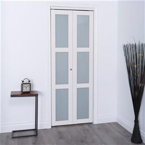 ReliaBilt 36-in x 80-in Off-White Frosted Glass Closet Door
