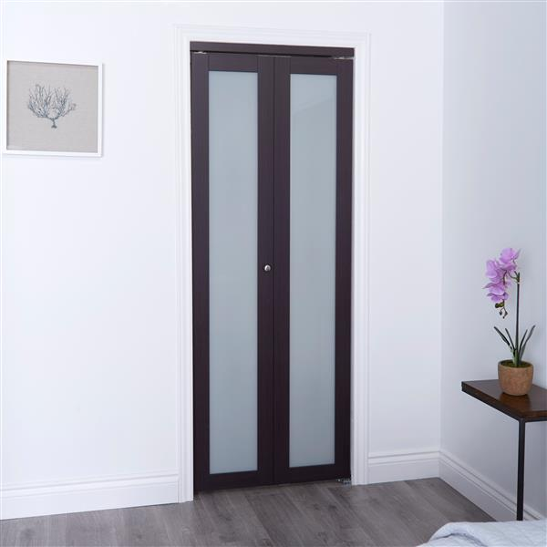 Porte coulissante en verre givré, brun foncé