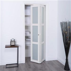 ReliaBilt 24-in x 80-in Off-White Frosted Glass Closet Door
