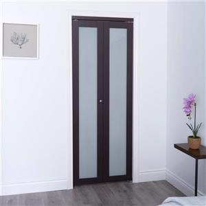 Frosted Glass Closet Door - Dark Brown