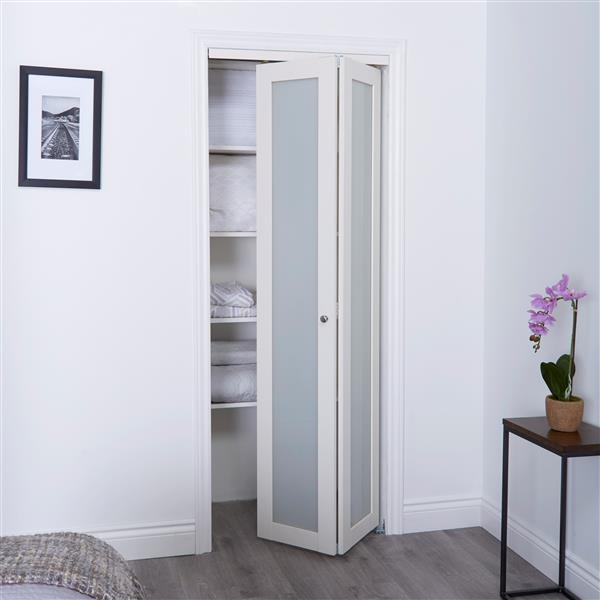 ReliaBilt 30-in x 80-in Off-White Frosted Glass Closet Door