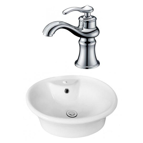 """Ens. vasque avec trop-plein, 19"""", céramique, blanc"""