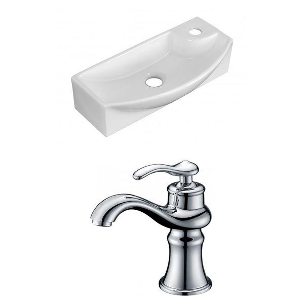 """Ens. vasque avec trop-plein, 17,75"""", céramique, blanc"""