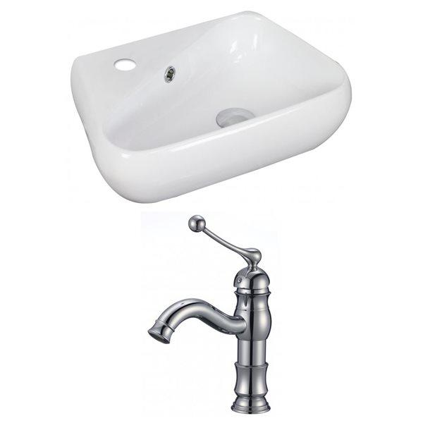 """Ens. vasque avec trop-plein, 17,5"""", céramique, blanc"""