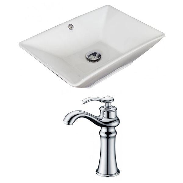"""Ens. vasque avec trop-plein, 22"""", céramique, blanc"""