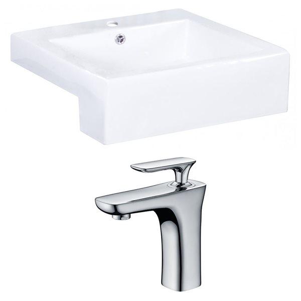 """Ens. vasque semi-encastrée, 20,25"""", céramique, blanc"""