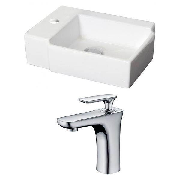 """Ens. vasque avec trop-plein, 16,25"""", céramique, blanc"""