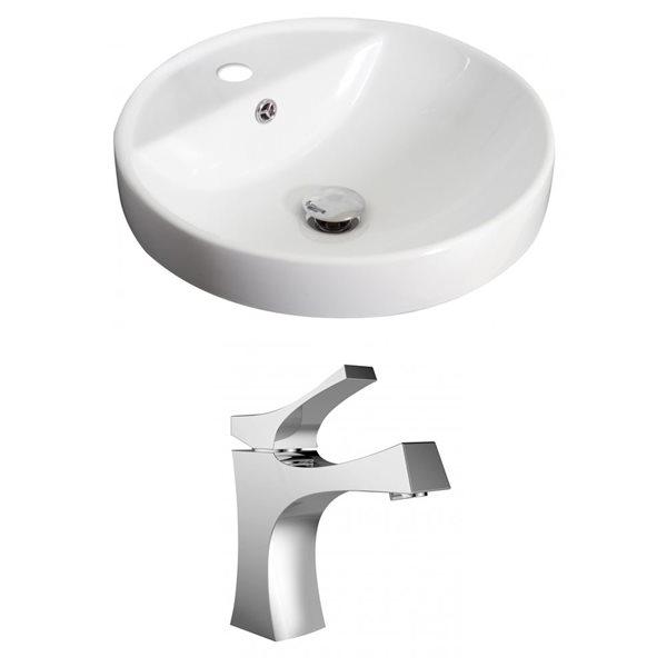 "Ens. vasque encastrée, 18,25"", céramique, blanc"