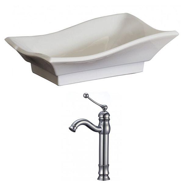 """Ens. vasque avec trop-plein, 20"""", céramique, blanc"""