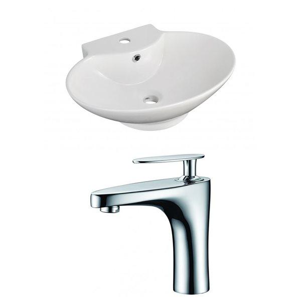 """Ens. vasque avec trop-plein, 22,75"""", céramique, blanc"""