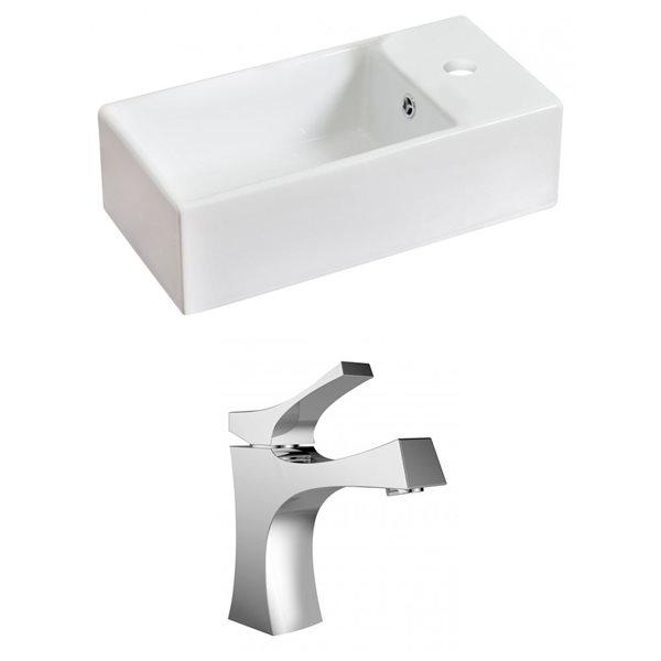 """Ens. vasque avec trop-plein, 19,25"""", céramique, blanc"""