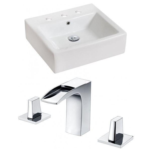"""Ens. vasque avec trop-plein, 21"""", céramique, blanc"""