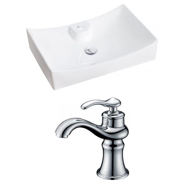 """Ens. vasque avec trop-plein, 26"""", céramique, blanc"""