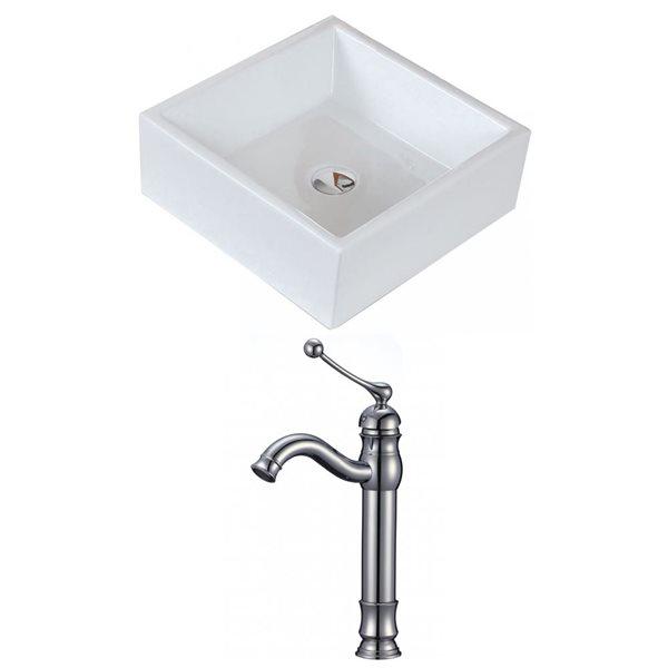 """Ens. vasque avec trop-plein, 14,75"""", céramique, blanc"""