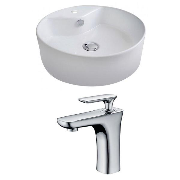 """Ens. vasque avec trop-plein, 18,25"""", céramique, blanc"""