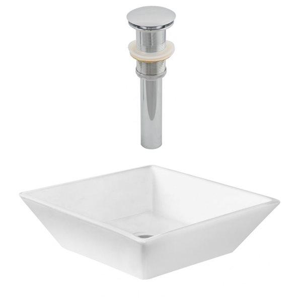 """Ens. vasque avec trop-plein, 15,75"""", céramique, blanc"""