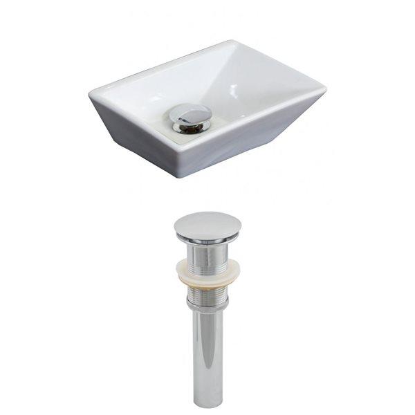 """Ens. vasque avec trop-plein, 12"""", céramique, blanc"""